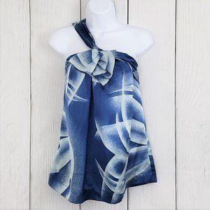BCBGMAXAZRIA sz M Blue Watercolor Silk Halter Top